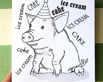 Color It Yourself Birthday Card, Cute Piggy, PDF Printable Card, Pig-Out Birthday Piggy, Pig-Latin Piggy Birthday Card