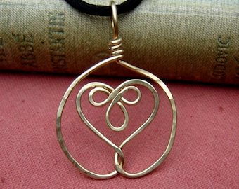 Celtic Knot Embraced Heart Pendant Necklace Brass Celtic Heart Necklace Wire Women Celtic Jewelry Irish Gift for Her Heart Jewelry