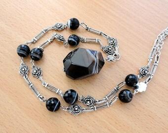 Black Onyx Necklace Gemstone Necklace Agate Necklace Boho Necklace Boho Jewelry Gemstone Pendant Necklace Long Necklace Beaded Necklace Gift