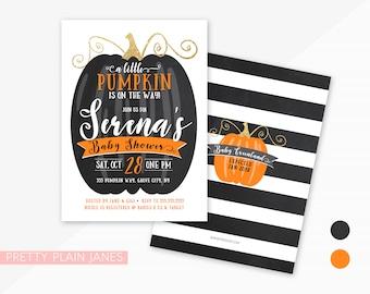 Pink Pumpkin Girl Fall Baby Shower Invitation Printable