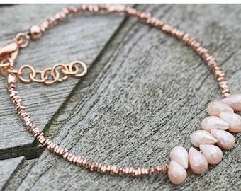 Mystic Peach Moonstone Faceted Bead Rose Gold Vermeil Bracelet Semi Precious Gemstones