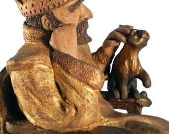 KING MIDAS - That Midas Touch - OOAK Ceramic Sculpture, Gold Leaf, Greek Mythology