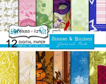 12 Digital Seasonal & Holiday Scrapbook Paper