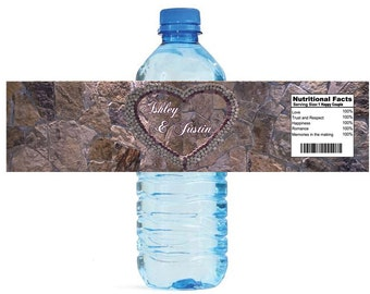 Cork Heart on stone background Wedding Water Bottle Labels Great for Engagement Bridal Shower Party easy to apply and use
