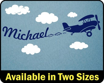 Personalized Boys Name Wall Decal, Airplane Boys Name Decal, Biplane wall Sticker, Nursery Decor Plane Wall Decal, Name Decal for Boys Room
