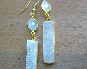 Moonstone and Druzy Drop Gold Plated Earrings