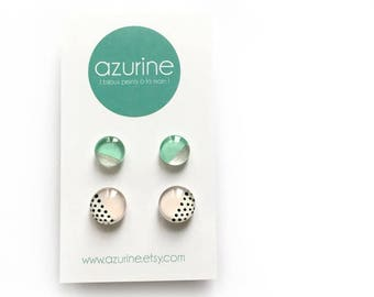 Minimalist modern and abstact earring set | pink and mint | retro polka dots | handpainted glass by azurine -