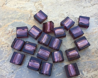 Square Purple Beads, Purple Glass Beads, 12mm, 20 beads per package.