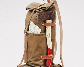 The Fieldwork Waxed Canvas and Leather Camping Travel Backpack