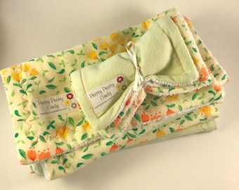 Yellow Green Floral Burp Cloths & Washcloths Set