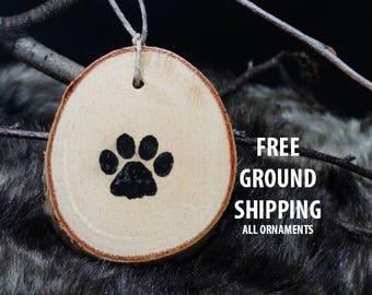 paw print ornament, birch ornament,Christmas ornament,Christmas gift,paw print painting,birch slice ornament,wall hanging,dog print ornament