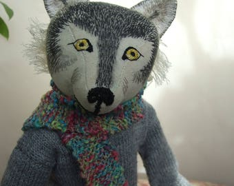 Winter Wolf Art Doll, Hand Embroidered OOAK