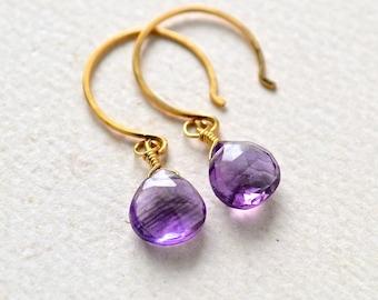Passiflora Earrings - amethyst earrings, purple amethyst earrings, amethyst drop earrings, february birthstone, DE16