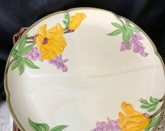 Franciscan Yellow & Purple Poppy Dinner Plate