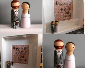Personalised Wedding Peg Doll Frame - unique wedding gift, custom wedding present, personalised wedding, wedding cake toppers, peg doll cake