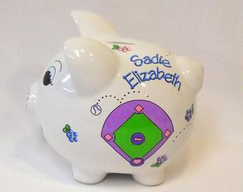 Personalized Piggy Bank Softball, Baseball