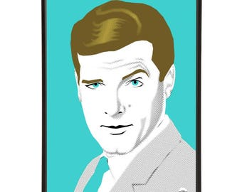 Roger Moore illustration inspired by iconic 1960s secret agents, part of the 1960s spies collection of pop art prints