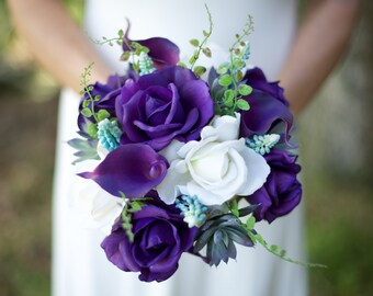 Wedding Succulents and Purple Roses Bouquet - Roses and Callas Natural Touch Silk Flower Bride Bouquet