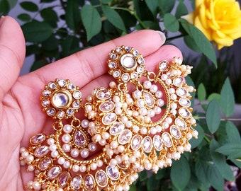 Glamorous Indian Earrings and Maang Tikka Set - Indian Jewelry, Indian Wedding Jewelry, Gold Tikka and Earrings, Bridal Jewellery
