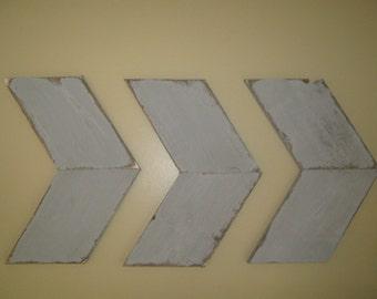 Rustic set of three wall arrows, distressed gray.  3 wood wall arrows shabby home decor