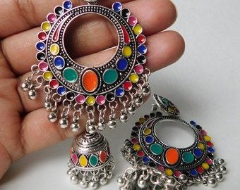 Kashmir style jingle bells earrings with colorful kundan