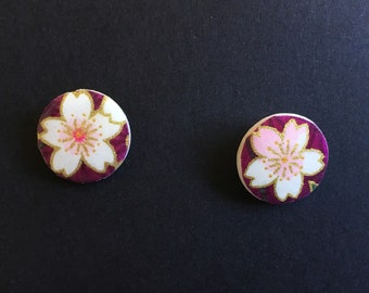 Washi paper stud earrings - pink & white flowers on purple background