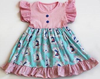 Dress Little Girls Clothing Bunny Flower Flutter Dress Claire Dress Toddler Girls Dress Soft Cotton Blue Pink Girls Summer Bunny Dress