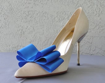 Royal Blue Satin Ribbon Bow Shoe Clips Set Of Two, More Colors Available