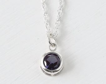 Sterling Silver Imitation Alexandrite Necklace / Small Alexandrite Solitaire Pendant / June Birthstone Necklace