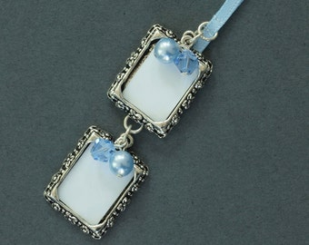Double Wedding Bouquet Photo Frame Charm | Crystal and Pearl Wedding Photo Frame Charm | Wedding Bouquet Photo Frame Charm | Photo Charm