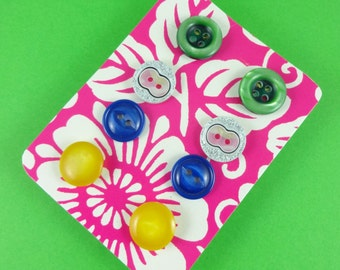 Button Earrings - set of four pairs of studs - vintage plastic buttons in green, yellow, blue and silver - cute kitsch novelty fun Harajuku