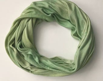 Silk Infinity Scarf - Green Infinity Scarf - Green Scarf - Casual Scarf - Neutral Scarf - Knit Infinity Scarf - Gift for Her - Wife Gift