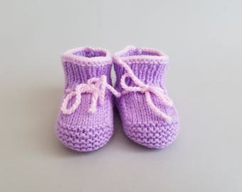 Hand Knitted Baby Booties in Purple & Pink
