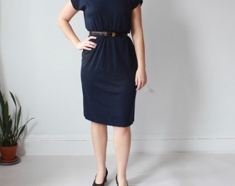 vintage plus size dress | navy mock neck short sleeved dress, XL