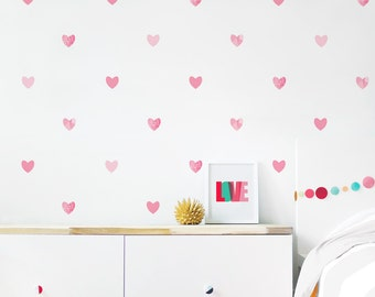 Heart Wall Decal Girl Room Decor Valentines Heart Wall Decor Kids Decor Pink Heart Wall Decal Kids Decal. Hearts Children Wall Decal