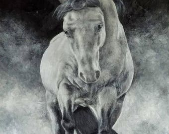 The Runner- Black and White oil on canvas