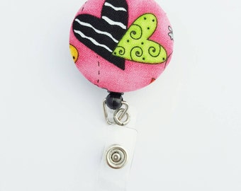 Retactable ID Badge Reel / ID Badge Holder / Name Badge Clip / Badge Pull / Nurse Badge Reel / Retractable Badge Holder - Hearts