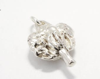 Cotton Anniversary Gift ,Silver Cotton Boll Charm C220, medium size cotton boll charm for her second anniversary,cotton farmer gift for wife
