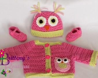 Owl Sweater  Baby Girl Sweater  Baby Girl Owl Sweater  Crochet Baby Girl Owl Sweater  Baby Girl Shower Gift  Gift for Baby Girl 03 Mo