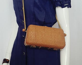 Vintage 70's Small WOVEN RATTAN Shoulder Bag w Gold Accents and Satin Rope Shoulder Strap