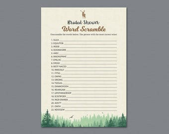 Woodsy Bridal Shower Word Scramble, Lumberjack, Forest Trees, Wedding Party Game, Bridal Shower Activity, Word Search, Find Words, A010