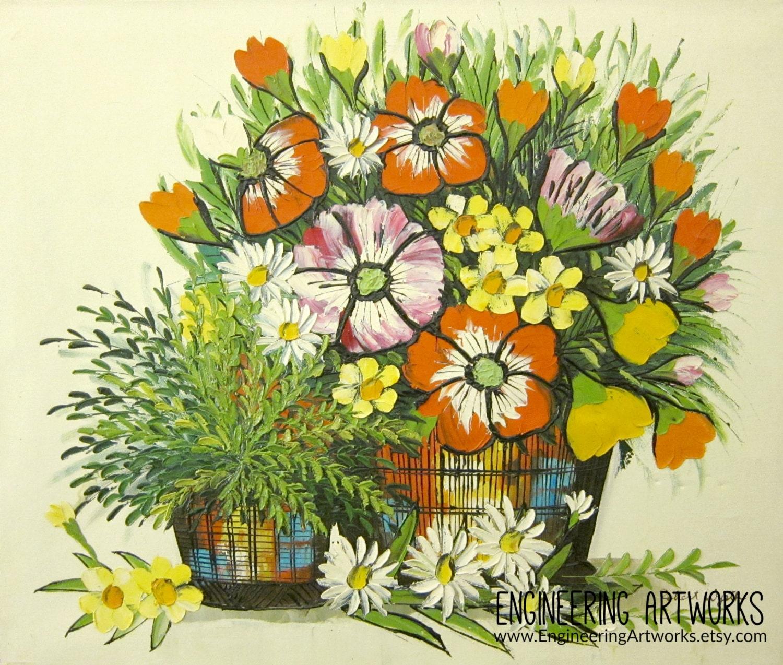 Cuadros abstractos flores Original acrílico pintura casa