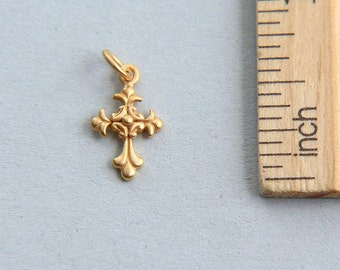 Cross Charm, Christian Cross Charm, Christian Charm, Tiny Gold Cross Charm, 24K Gold plated sterling silver cross charm, 15 x 8mm(1 piece)