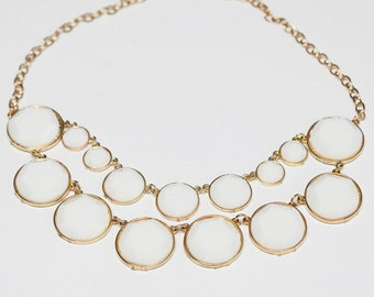 Chunky White Two Layer Bib Statement Necklace