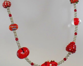 Vintage Red Art Glass Necklace.  Ruby Red Silver Clear Wedding Cake Beads Necklace.