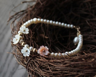 Freshwater pearl pinctada maxima shell bracelet