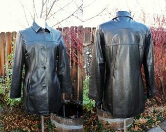 1990's Black Leather Jacket Coat Wilson Large Soft Vintage Retro 90s Hipster Mod