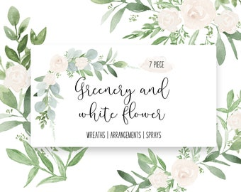 7 Greenery and white flowers & two digital papers   watercolor set   wedding   flowers    Florals   leaves   clip art  INSTANT DOWNLOAD