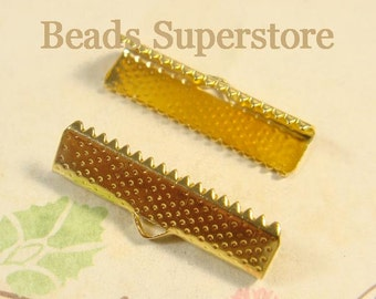 FINAL SALE 25 mm x 7 mm Gold-Plated Ribbon End Tip - Nickel Free and Lead Free - 10 pcs