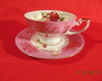 """One (1), 2 1/4"""", Porcelain, Footed Tea Cup & Saucer, from Lipper and Mann, Royal Halsey, in a Pink Lusterware"""